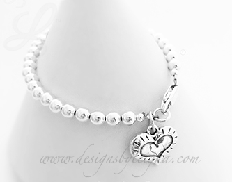 3 Heart Charm Bracelet - Valentine's Day Gift Ideas - Heart within a Heart within a Heart Charm
