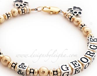 Chia and George Dog Lover Bracelet with Paw Print Charms www.DesignsByLeigha.com