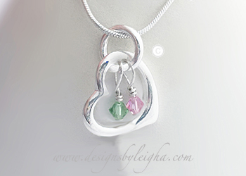 Heart Birthstone Charm Necklace at >www.DesignsByLeigha.com.com